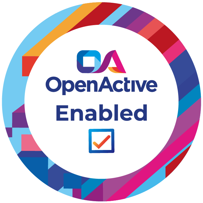 The OpenActive Enabled badge is a circle with the words 'OpenActive Enabled' and a tickbox.